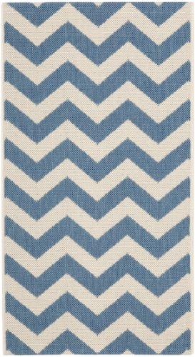 Safavieh Courtyard Collection CY6244-243 Blue and Beige Indoor/Outdoor Area Rug (2'7