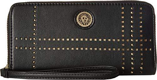 Anne Klein Women's Plaid Perf Zip Around Black/Bright Gold One Size