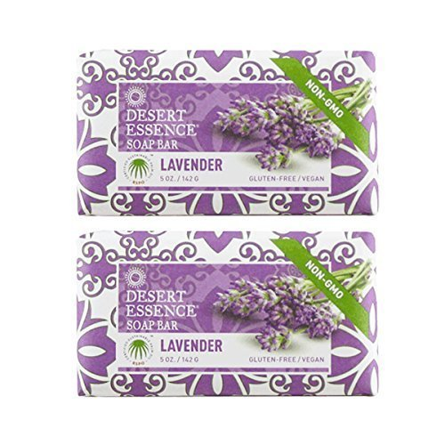 - Desert Essence Lavender Soap Bar With Tea Tree Oil and Lavender Oil, Gluten-Free/ Vegan, 5 oz. (Pack of 2)