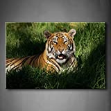 YIDA YUN Bengal Tiger Panthera Tigris Bengalensis Laying In Thick Grass Openmouthed Wall Art Painting Picture Print On Canvas Animal Pictures For Home