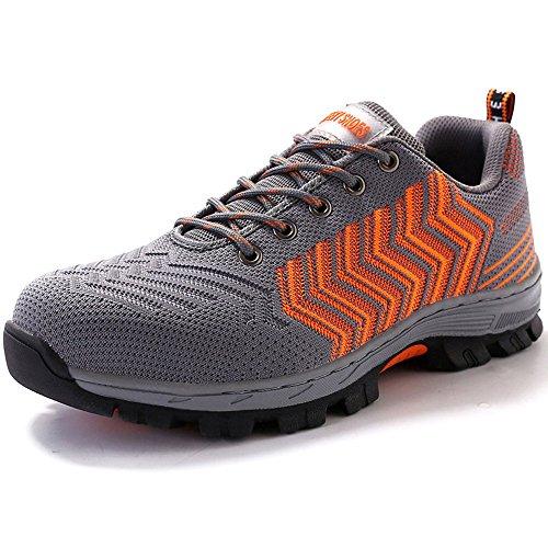 Eclimb Hombres Safety Steel-toe Zapatos De Trabajo Naranja