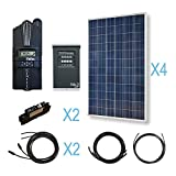 RENOGY® 1200W Polycrystalline Cabin Solar Kit: 4 300W Poly Solar Panels + 1 Midnite MPPT Controller + 2 Pairs of 40Ft MC
