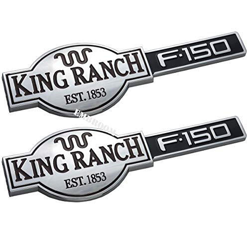 2pcs King Ranch F150 Emblems, 3D Badges Nameplate Door Tailgate 10 inch Sticker Decal Replacement for Ford F-150 (Chrome)