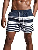 ChinFun Men's Swimsuit Swim Trunks Water Shorts Swimwear Drawstring Stripes Board Shorts Bathing Suits Mesh Lining Brief Side Pockets Navy Size XXXL