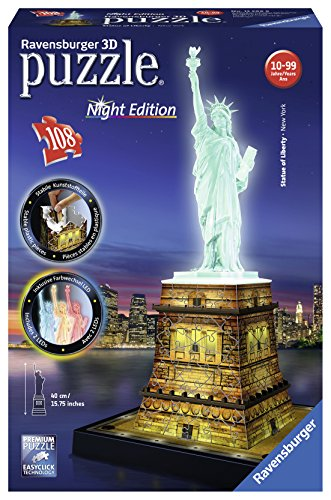 Ravensburger 3D-Puzzle 12596 - Freiheitsstatue bei Nacht, 108-teilig Bauwerke