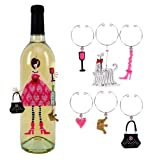 Sunset Vista Designs Divas and Dames Refrigerator Magnet and Wine Charm Set, Diva