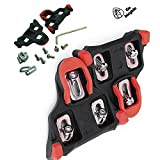 Bike Cleats Set 6 Degree Pedal Self-locking for Spinning Bicycle Shoe - Indoor spin Cycling & Mountain Road Biking - Compatible with Look & Shimano SPD SL - Cycle Clips Pedals.