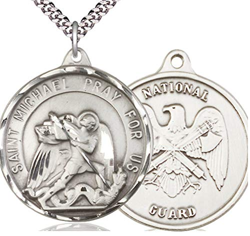 """Pewter St. Michael/National Guard Medal, 1-1/4"""" dia, 24"""" Light Rhodium Plated Clasp Chain"""