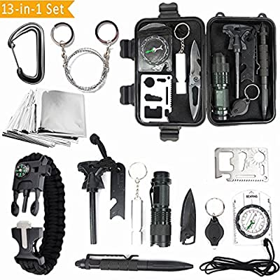 MOYUN Emergency Survival Gear Kits 13 in 1 Multi Professional Outdoor Survival Tool with Fire Starter Knife Whistle Flashlight Tactical Pen etc for Travel Hike Field Camp Wild Survival Hunting by MOYUN