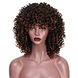 #2: AISI HAIR Mixed Wig Curly Synthetic Hair for Black Women African Short Brown Wig Heat Resisitant Hair Fluffy Wig with bangs