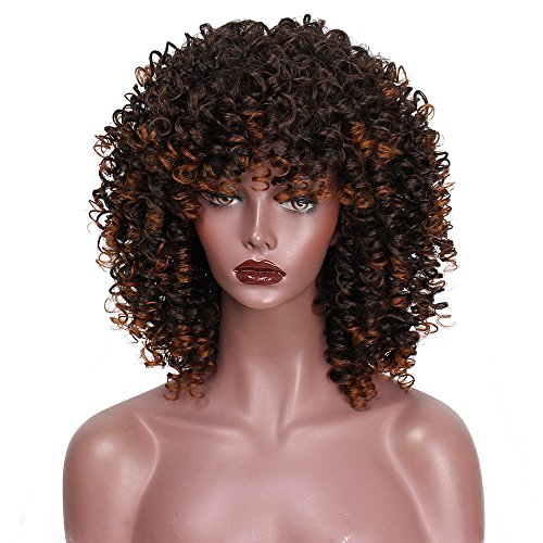 AISI HAIR Mixed Wig Curly Synthetic Hair for Black Women African Short Brown Wig Heat Resisitant Hair Fluffy Wig with bangs wigs