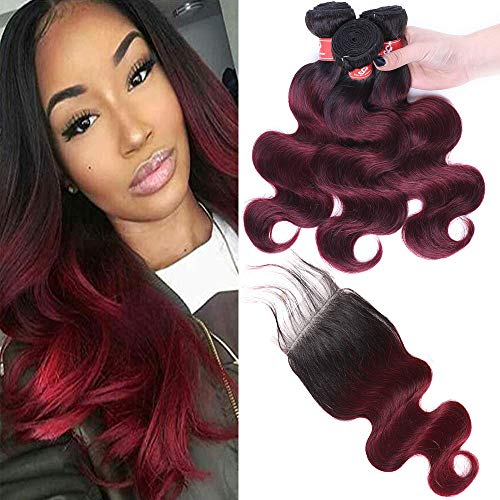 1B/99J Ombre Color 10A Brazilian 1B/Burgundy Unprocessed Virgin Human Hair 3 Bundles With Lace Closure Body Wave Human Hair Weft With Closure Red Wine Ombre Hair Extensions (14 16 18+12, Ombre 1B/99J) (Best Red Ombre Hair)
