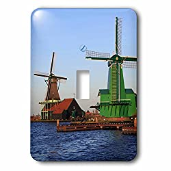 3dRose Danita Delimont - Windmills - Famous windmills of Zaanse Schans, just outside of Amsterdam, Holland - Light Switch Covers - single toggle switch (lsp_257780_1)