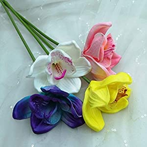 Lily Garden Artificial Flowers Purple Turquoise Orchid Stem Real Touch Flowers Set of 12 Stems 4