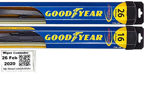 Hybrid - Windshield Wiper Blade Bundle - 3 Items: Driver & Passenger Blades & Reminder Sticker fits 2010-2013 Infiniti G37 (Sedan)