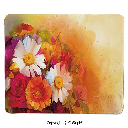 (Quality Selection Comfortable Mouse Pad,Vivid Flower Bouquet with Roses Daisy Gerbera Blossoms Flourishing Artwork,Non-Slip Water-Resistant Rubber Base Cloth Computer Mouse Mat (15.74