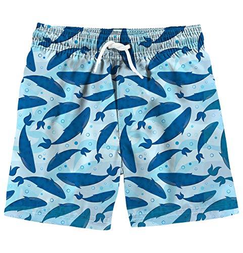 Funnycokid Kids Swin Trunks Summer 3D Printed Whale Quick Dry Beach Wear Boys Beach -