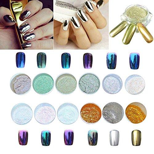 LULAA 12 Colors Nail Glitter Powder Shinning Nail Mirror Powder Makeup Art, DIY Chrome Pigment With Sponge Stick,Gorgeous Glitters-12 boxes Nail powder ()