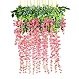 Di Grazia 12 Pack 1 Piece 3.6 Feet Artificial Fake Wisteria Vine Ratta Hanging Garland Silk Flowers Leaves Branches String Home Party Festival Decoration Decor (Pink)