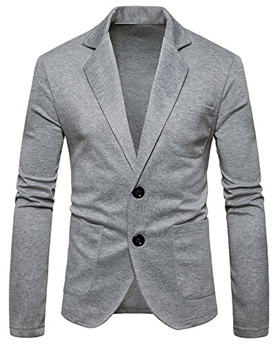 WHATLEES Mens Long Sleeve V Neck Lapel One Button Slim Fit Sweater Cardigan B936-LightGray-XL by WHATLEES