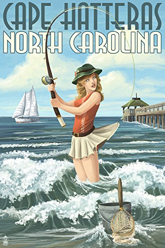 Cape Hatteras, North Carolina - Surf Fishing Pinup Girl (12x18 SIGNED Print Master Art Print w/ Certificate of Authenticity - Wall Decor Travel Poster) (Surf Hatteras Cape)