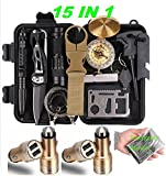 Survival Gear Emergency Kit Outdoor Camping Safety Tools SOS 15 IN 1 Unlimited Use , Any Scenario a Complete All Purpose Unlimited Use + 2 FREE Safety Hammer Car Chargers