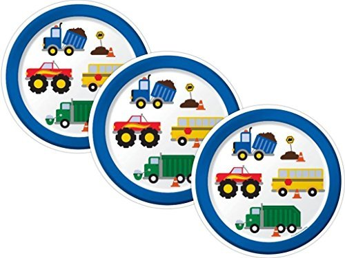 Traffic Jam Trucks Birthday Party Paper Dessert Plates, 24 Count -