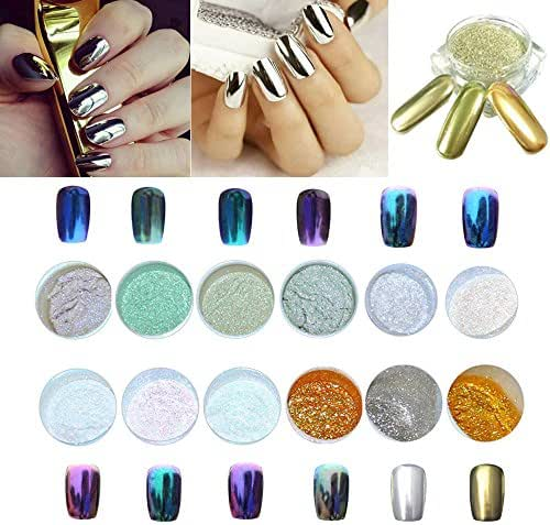RedBrowm LULAA 12 Colors Nail Glitter Shinning Nail Mirror Powder Makeup Art DIY Chrome