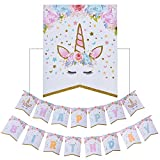 Toys : AMZTM Happy Birthday Bunting Banner Rainbow Unicorn Themed Party Favors Decorations for Cute Fantasy Fairy Girls Birthday Party Supplies