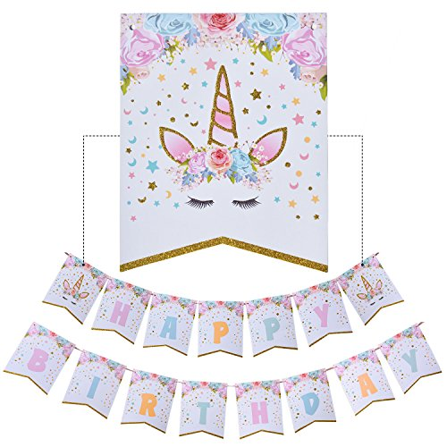 Best Price! AMZTM Happy Birthday Bunting Banner Rainbow Unicorn Themed Party Favors Decorations for ...