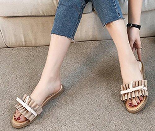 SCLOTHS Été Tongs Femme Chaussures Nœud papillon Open toe vêtements d'extérieur télévision télévision avec Abricot pDAGsIKo3Q