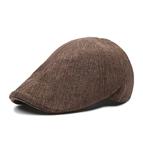 SUMOLUX Mens Newsboy Cap Linen Irish Hat Gatsby Ivy Hunting Pure Cabbie Caps (Duckbill Cap)