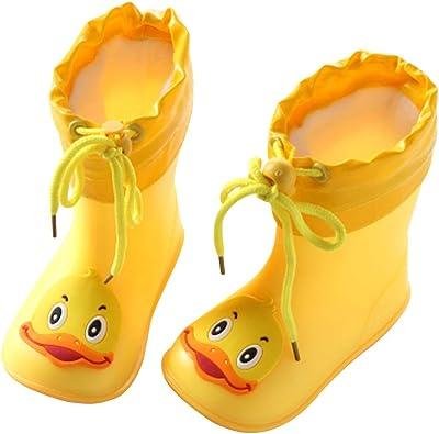 Kids Children Baby Boys Girls Cartoon Duck Waterproof Boots Rain Shoes No Slip