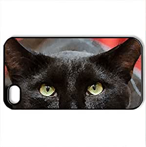 Black Cat - Case Cover for iPhone 4 and 4s (Cats Series, Watercolor style, Black)