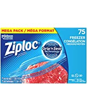 Ziploc Food Storage Freezer Bags, Grip 'n Seal Technology for Easier Grip, Open, and Close, Medium, 75 Count