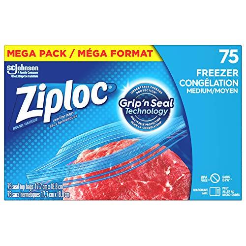 Ziploc Brand Bags, Freezer Medium, Mega Pack, 75 Count