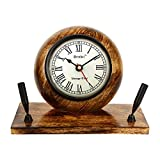 Artshai Premium Wooden Table Clock cum Pen Stand. Excellent desk décor and organiser, Antique style