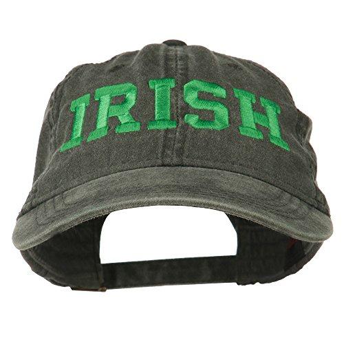 Hat Irish Baseball (E4hats Irish Embroidered Washed Pigment Dyed Cap - Black OSFM)