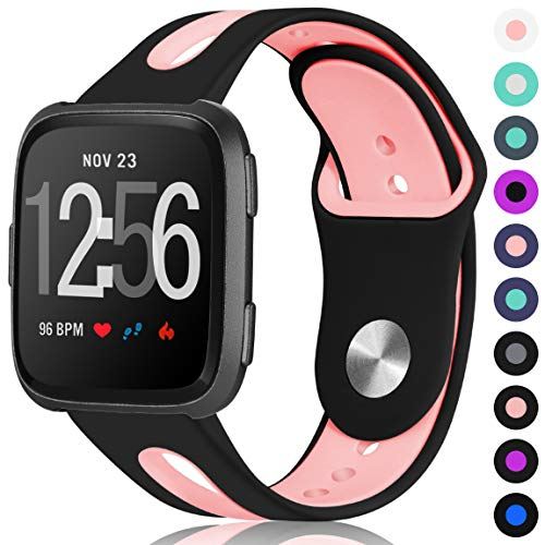 Maledan Compatible with Fitbit Versa Bands Women Men, Small, Black Pink