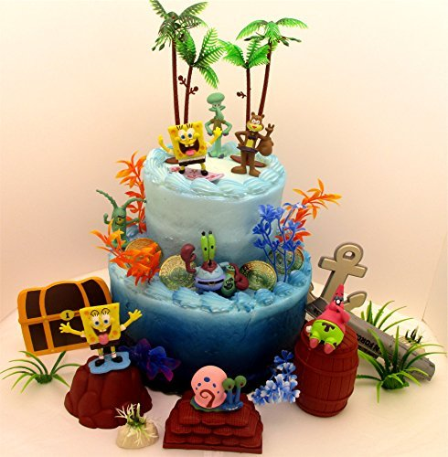 Spongebob Squarepants Under the Sea Deluxe Birthday Cake Topper Set Featuring Random Spongebob Character Figures and Decorative Themed Accessories -