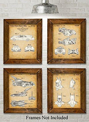 Original Batmobile Patent Art Prints - Set of Four Photos (8x10) Unframed - Great Gift for Batman and Comic Fans (Comic Prints Art)