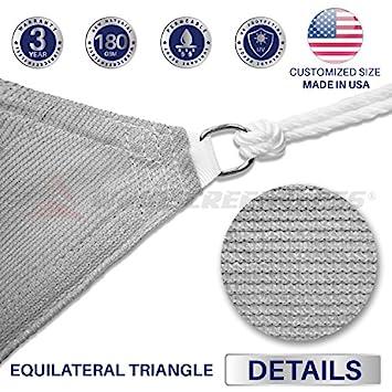 Windscreen4less 20 x 20 x 20 Sun Shade Sail UV Block Fabric Canopy in Light Grey Triangle for Patio Garden Patio Customized 3 Year Warranty
