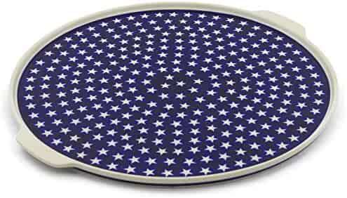 Polish Pottery 17¼-inch Pizza Plate (America The Beautiful Theme) + Certificate of Authenticity