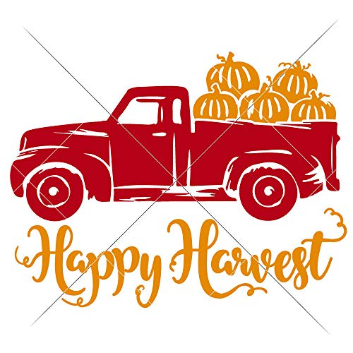Happy Harvest Truck with Pumpkins Thanksgiving SVG File for Cutting Machines like Silhouette Cameo and Cricut, Commercial Use Digital Design
