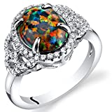 Created Black Opal Cocktail Ring Sterling Silver 1.25 Carats Size 7
