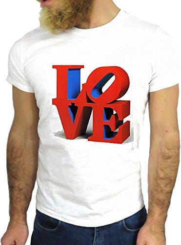 T SHIRT JODE Z3154 LOVE NEW YORK ART FUN NICE AMERICA NY USA BIG APPLE VIANTE GGG24 BIANCA - WHITE L