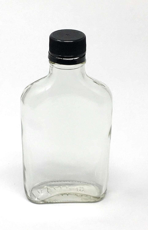 6 Pack 200 ml Glass Flask Liquor Bottle with Black Caps 6.6 oz
