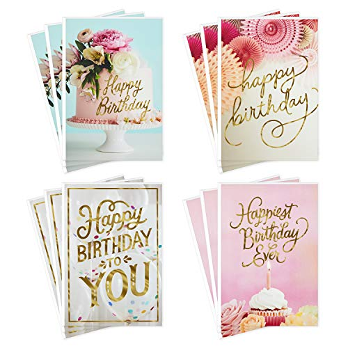 Hallmark Birthday Cards Assortment, Balloons, Cake, Flowers (12 Cards with Envelopes)