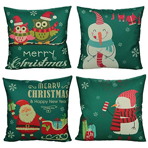All Smiles Christmas Throw Pillow Covers 18x18 Set of 4 Decorative Cushion Cases Xmas Winter Holiday Decora Pillowcase Outdoor for Couch Sofa,Green & Red Snowman Santa Owl