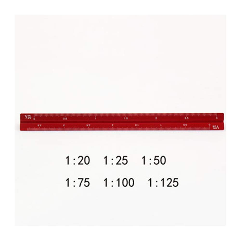 Ownstyle Architectural Engineers Triangular Scale 15 cm Metric Metal Triangular Scale Ruler (Red, Small Proportion)